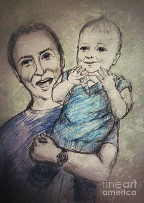 Drawing - Father And Son by Joan-Violet Stretch