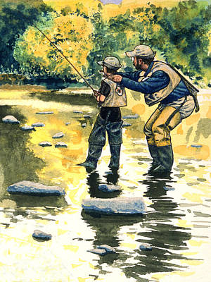 Trout Painting - Father And Son by John D Benson
