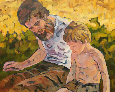 1976 Painting - Father And Son by Lutz Baar