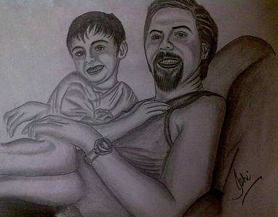 Father And Son Art Print by Syeda Ishrat