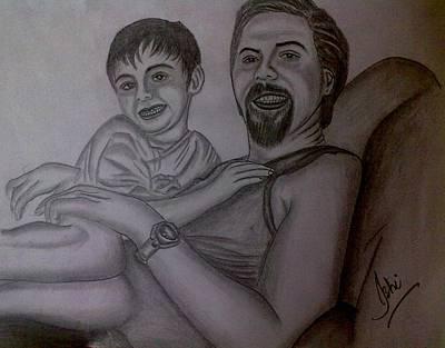 Syeda Ishrat Drawing - Father And Son by Syeda Ishrat