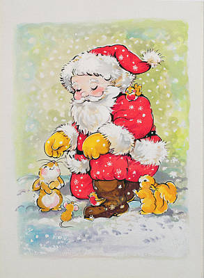 Winter Fun Painting - Father Christmas  by Diane Matthes