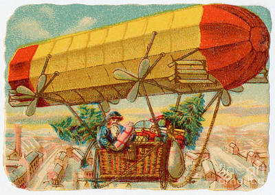 Photograph - Father Christmas In Airship by Mary Evans