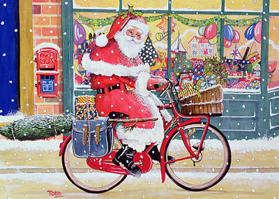 Father Christmas On A Bicycle Wc Art Print by Tony Todd