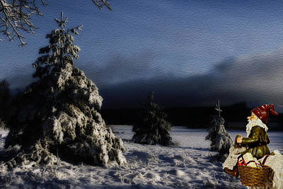 father Christmas riding a goat in a winter landscape Art Print by Christian Lagereek