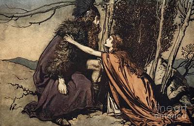Norse Drawing - Father Father Tell Me What Ails Thee With Dismay Thou Art Filling Thy Child by Arthur Rackham