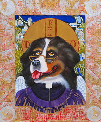 Dog Caricature Painting - Father Fido Of Nanaimo by Elissa Anthony