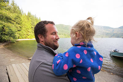Harrison Hot Springs Wall Art - Photograph - Father Holding Daughter On Lakeshore by Christopher Kimmel