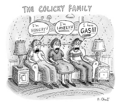 Whine Drawing - Father, Mother And Son Sitting On A Couch, Each by Roz Chast