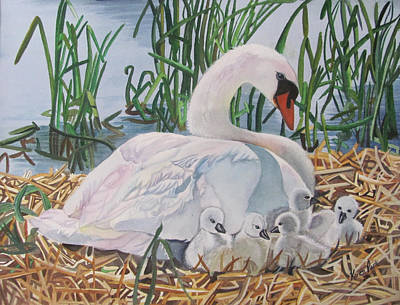Goslings Painting - Father On Guard by Karen Park