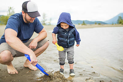 Harrison Hot Springs Wall Art - Photograph - Father Playing On Beach With His Son by Christopher Kimmel
