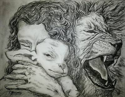 Lion And The Lamb Drawing - Father Spirit Son Image 2 by Pamela Blayney