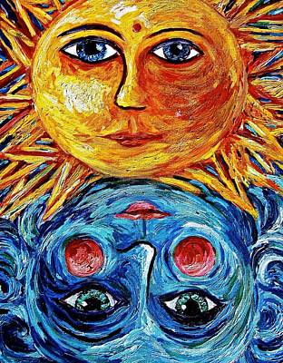 Painting - Father Sun And Mother Moon by Sebastian Pierre