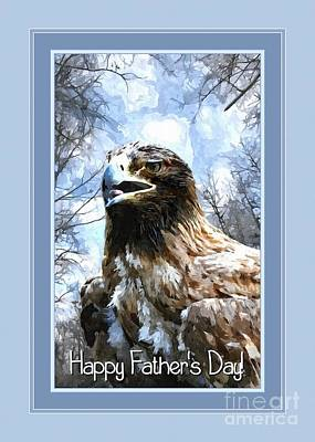 Digital Art - Father's Canvas Painted Eagle by JH Designs