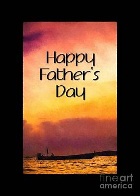 Digital Art - Father's Day Painted Sunset Silhouette by JH Designs