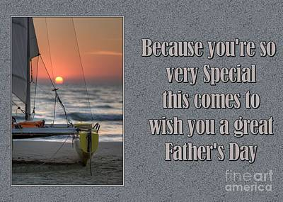 Digital Art - Father's Day Sunset Sailboat by JH Designs