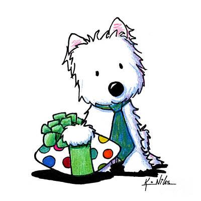 Westie Terrier Drawing - Father's Day Westie by Kim Niles