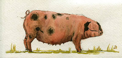 Farm Animal Painting - Faty Sow by Juan  Bosco