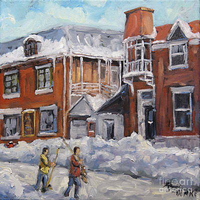Montreal Back Lanes Painting - Faubourg A Melasse Montreal - Joys Of Winter By Prankearts by Richard T Pranke
