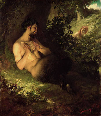 Mythological Photograph - Faun And Nymph, 1868 Oil On Canvas by Pal Szinyei Merse