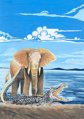 Art Print featuring the painting Faune D'afrique Centrale 02 by Emmanuel Baliyanga