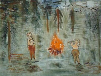 Faun Painting - Faun's Firelight Dance by Rodolfo Soplata