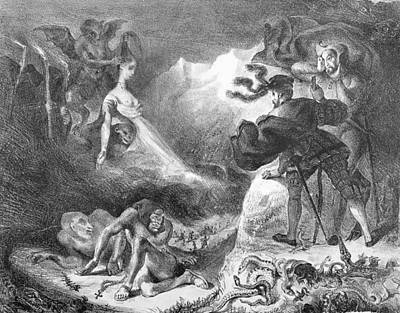 Monster Photograph - Faust And Mephistopheles At The Witches Sabbath, From Goethes Faust, 1828, Illustration, Bw Photo by Ferdinand Victor Eugene Delacroix
