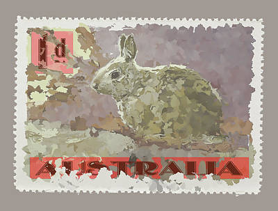 Faux Poste Bunny 1d Art Print by Carol Leigh