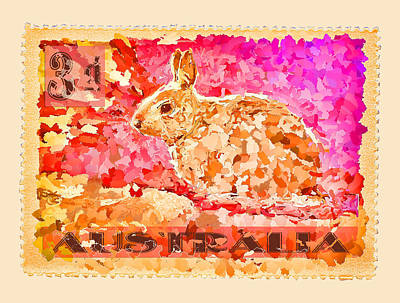Faux Poste Bunny 3d Art Print by Carol Leigh