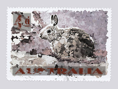 Faux Poste Bunny 4d Art Print by Carol Leigh