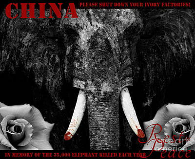 Digital Art - Faux Protest Sign Ivory Poaching by Nola Lee Kelsey
