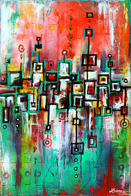Gomez Painting - Favelas - Abstract Art By Laura Gomez by Laura  Gomez