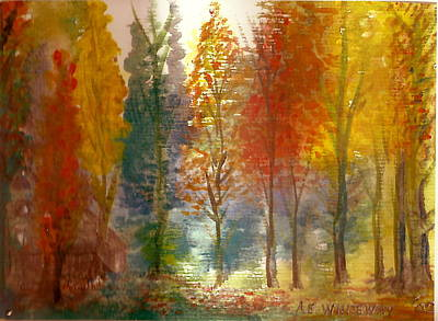 Favorite Fall Watercolor Painting Original by Anne-Elizabeth Whiteway
