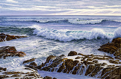 Surf Painting - Favorite Spot-california Coast by Paul Krapf