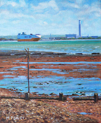 Painting - Fawley Power Station From Weston Shore Hampshire by Martin Davey