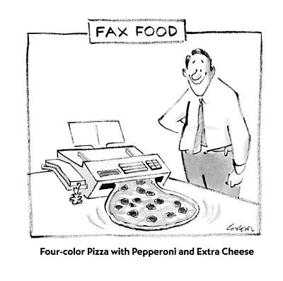 Fast Food Drawing - Fax Food 'four-color Pizza With Pepperoni by Lee Lorenz