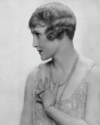 Fay Compton Wearing A Pearl Necklace Art Print by Dorothy Wilding