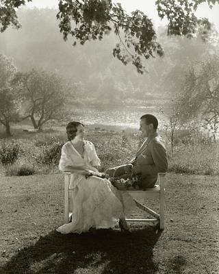 Fay Wray And John Monk Sanders Sitting Art Print by Edward Steichen