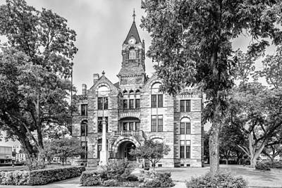 Fayette County Courthouse In Bw Monochrome - La Grange Texas Art Print
