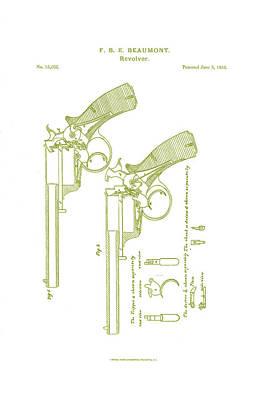 F.b.e Beaumont Revolver Patent Art Print by Georgia Fowler
