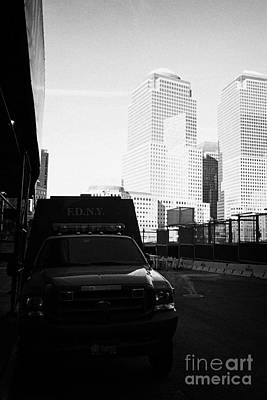 Terrorist Photograph - Fdny Fire Tender Parked Outside Liberty Street Ground Zero New York City by Joe Fox