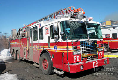 Photograph - Fdny Ladder 112 At 7 Alarm Fire by Steven Spak