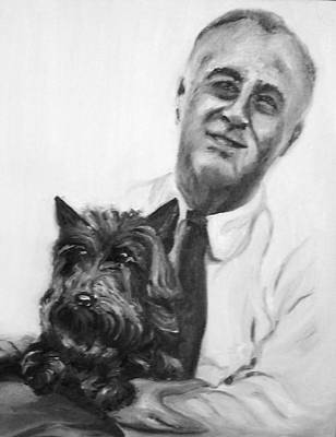 Painting - Fdr And Fala  by Martha Suhocke