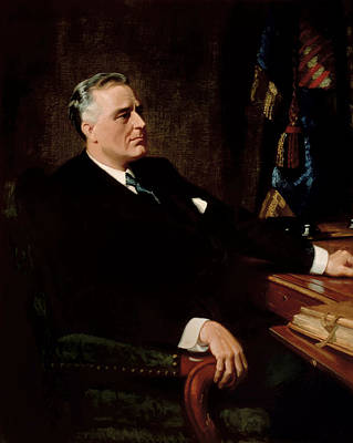 Landmarks Painting Royalty Free Images - FDR Official Portrait  Royalty-Free Image by War Is Hell Store