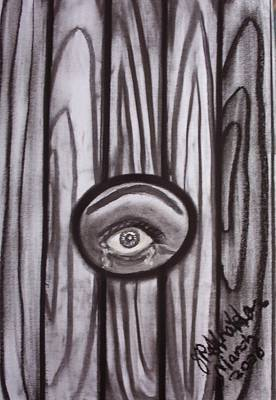 Eye Drawing - Fear - Eye Through Fence by Joan Stratton