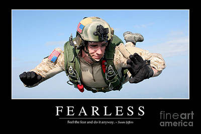 Red Roses - Fearless Inspirational Quote by Stocktrek Images