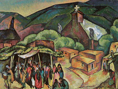Feast Day San Juan Pueblo Art Print by William Penhallow Henderson