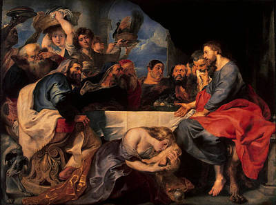 Mary Magdalene Photograph - Feast In The House Of Simon The Pharisee, C.1620 Oil On Canvas by Peter Paul Rubens