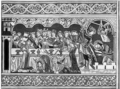 Manuscript Mixed Media - Feast Of Herod Woodblock Print  by Christos Georghiou