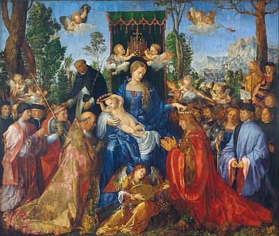 Feast Of Rose Garlands Art Print by Albrecht Durer